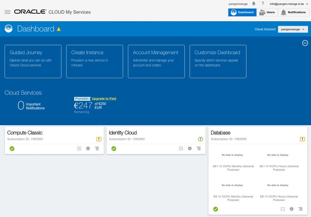 Oracle Cloud Service Dashboard